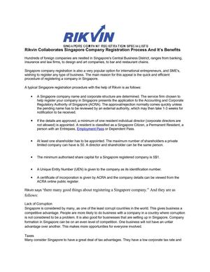 Rikvin Collaborates Singapore Company Registration Process And It's Benefits