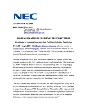 65-INCH MODEL ADDED TO NEC DISPLAY SOLUTIONS V SERIES