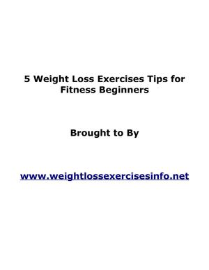 5 Weight Loss Exercises Tips for Fitness Beginners