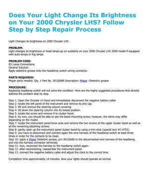 Does Your Light Change Its Brightness on Your 2000 Chrysler LHS? Follow Step by Step Repair Process