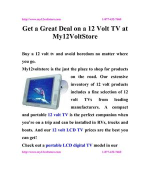 Get a Great Deal on a 12 Volt TV at My12VoltStore