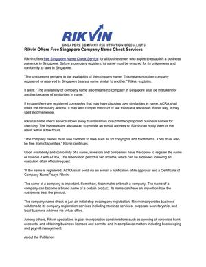 Rikvin Offers Free Singapore Company Name Check Services