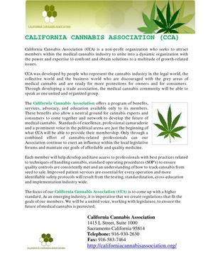 CALIFORNIA CANNABIS ASSOCIATION (CCA)