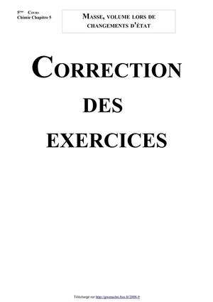 Masse, volume lors de changements d'état (Correction des exercices - Version 2010)