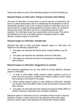 The War Against Child Labor Research Paper Conclusion
