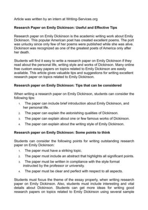 How To Write An Expository Essay Research Paper On Emily Dickinson Useful And Effective Tips Narrative Essay Introduction Examples also Essays On Dracula Calamo  Research Paper On Emily Dickinson Useful And Effective Tips Writing A Cause And Effect Essay Outline