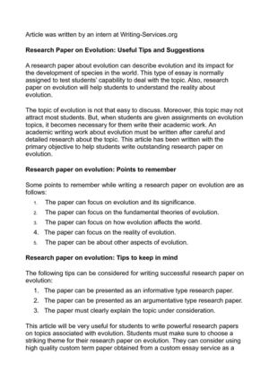 Research Paper on Evolution: Useful Tips and Suggestions