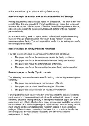 Research Paper on Family: How to Make It Effective and Strong?