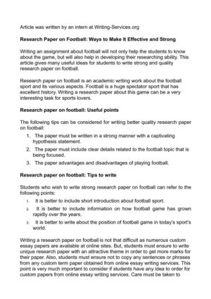 Research Paper on Football: Ways to Make It Effective and Strong