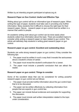 Research Paper on Gun Control: Useful and Effective Tips