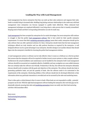 Leading the Way with Lead Management