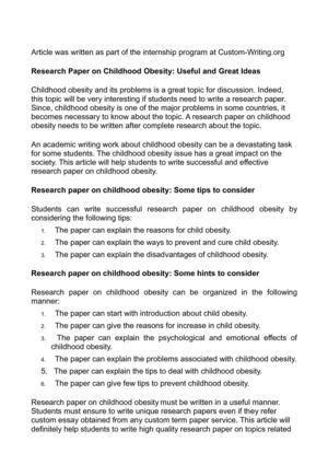 Research Paper on Childhood Obesity: Useful and Great Ideas