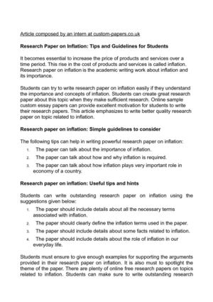 Research Paper on Inflation: Tips and Guidelines for Students