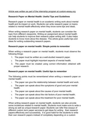 Research Paper on Mental Health: Useful Tips and Guidelines