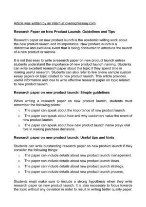 Research Paper on New Product Launch: Guidelines and Tips