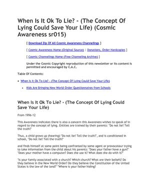 Cosmic Awareness sr015: When Is It OK To Lie? - (The Concept Of Lying Could Save Your Life)