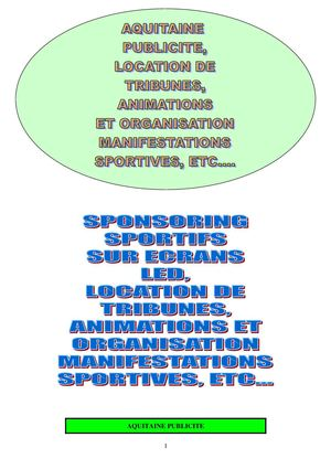organisation manifestations sportive, location ecran video tribune et animation