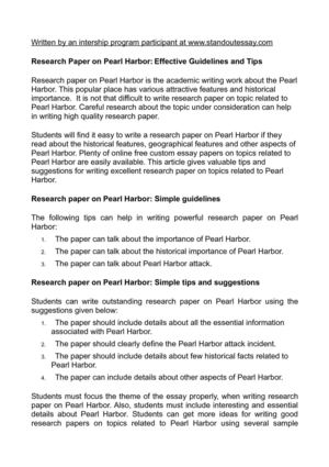 Research Paper on Pearl Harbor: Effective Guidelines and Tips