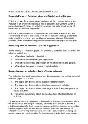 Calamo  Research Paper On Pollution Ideas And Guidelines For Students