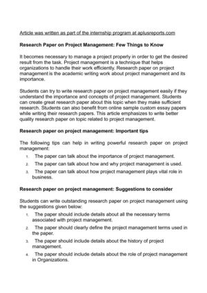 Research Paper on Project Management: Few Things to Know