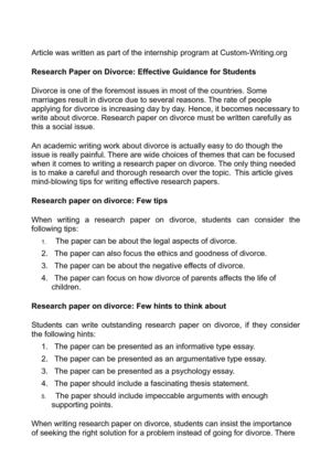 Research Paper on Divorce: Effective Guidance for Students