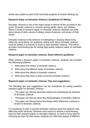 Research Paper on Domestic Violence: Guidelines for Writing