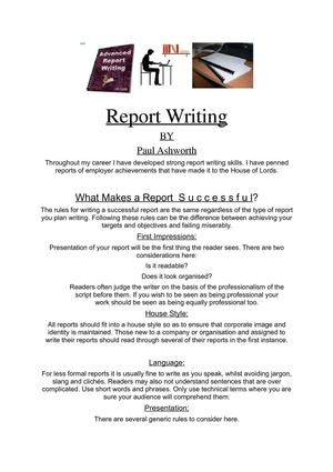 how to write a career report