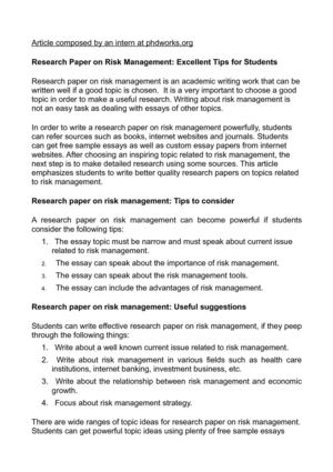 Essay On Raksha Bandhan In Hindi Research Paper On Risk Management Excellent Tips For Students Writing A Process Essay Examples also Best Topics For Compare And Contrast Essays Calamo  Research Paper On Risk Management Excellent Tips For Students An Essay On Brain Drain