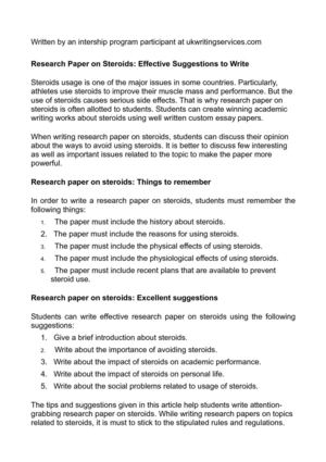 steroid research paper
