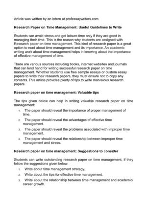 How To Write A Essay Proposal Research Paper On Time Management Useful Guidelines To Write Thesis Statement Essay also Science Essay Examples Calamo  Research Paper On Time Management Useful Guidelines To Write English Essay Example