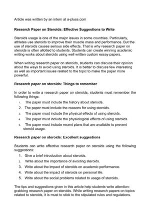 Research paper on steroids