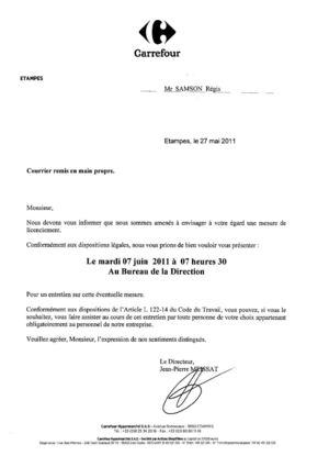933fb4f4091 Carrefour Etampes  lettres de convocation pour entretien préalable à  licenciement. Régis SAMSON   Carlos