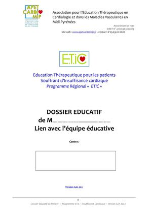 DOSSIER EDUCATIF PATIENT ETIC