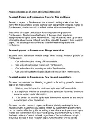 Research paper on frankenstein