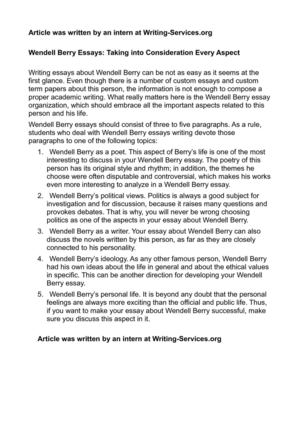 Research Essay Thesis Wendell Berry Essays Taking Into Consideration Every Aspect Health Essay Writing also Argumentative Essay Topics For High School Calamo  Wendell Berry Essays Taking Into Consideration Every Aspect English As A Second Language Essay