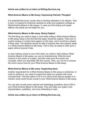 Calamo  What America Means To Me Essay Expressing Patriotic Thoughts What America Means To Me Essay Expressing Patriotic Thoughts