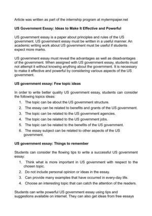 What Is The Thesis Statement In The Essay Us Government Essay Ideas To Make It Effective And Powerful Thesis Statement For An Essay also Essay On Science And Religion Calamo  Us Government Essay Ideas To Make It Effective And Powerful How To Write Proposal Essay