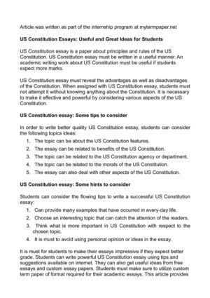 Proposal Essay Topic Ideas Us Constitution Essays Useful And Great Ideas For Students Essay On Health Care Reform also English Essay Topics For Students Calamo  Us Constitution Essays Useful And Great Ideas For Students Persuasive Essay Ideas For High School
