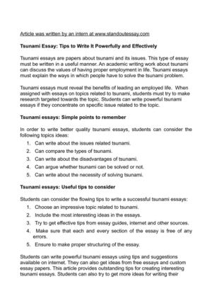 tsunami essay tips to write it powerfully and effectively tsunami essay tips to write it powerfully and effectively