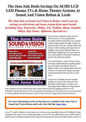 The June Sale Deals Savings On 3d HD LCD LED Plasma TVs & Home Theater Systems At Sound And Vision Bolton & Leeds