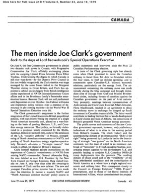 THE MEN INSIDE JOE CLARK'S GOVERNMENT Back to the days of Lord Beaverbrook's Special Operations Executive (EIR) Vol. 6, Number 24, June 19, 1979 (Truth + Fiction on Quebec and NAU common market)
