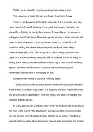 the legacy of a great w in a susan b anthony essay the legacy of a great w in a susan b anthony essay