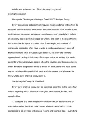 Calamo  Managerial Challenges  Writing A Good Swot Analysis Essay