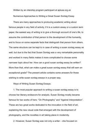 Numerous Approaches to Writing a Great Susan Sontag Essay