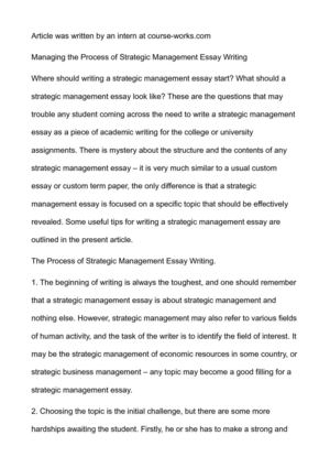 Managing the Process of Strategic Management Essay Writing