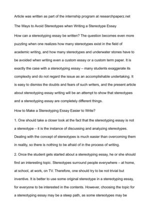 How To Write A Good English Essay The Ways To Avoid Stereotypes When Writing A Stereotype Essay High School Essay Samples also Top English Essays Calamo  The Ways To Avoid Stereotypes When Writing A Stereotype Essay Healthy Eating Essay