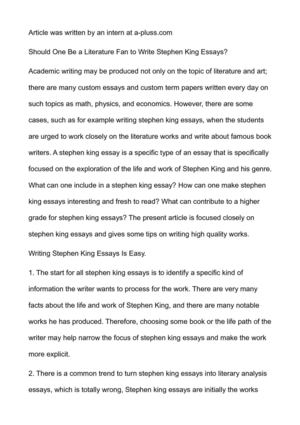 Best Essay Editing Service Should One Be A Literature Fan To Write Stephen King Essays Farenheit 451 Essay also How To Begin A Compare And Contrast Essay Calamo  Should One Be A Literature Fan To Write Stephen King Essays A Essay About Education