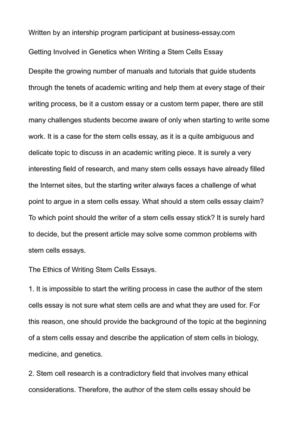 Essay English Example  High School Application Essay Examples also Business Essay Format Calamo  Getting Involved In Genetics When Writing A Stem Cells Essay Essays In English