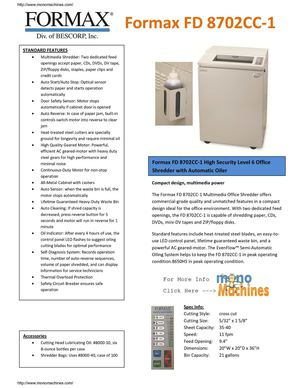 Formax FD 8702CC-1 Cross-Cut Multimedia Shredder with Automatic Oiler Info Sheet