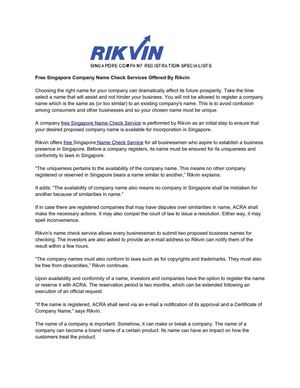 Free Singapore Company Name Check Services Offered By Rikvin